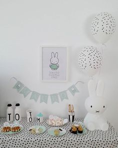 HIS FIRST BIRTHDAY PARTY ♡  Baby M has the sweetest Miffy party by @ninadesigns… Bunny Birthday, Blue Birthday, Baby First Birthday, Boy Birthday Parties, Festa Party, Diy Party, Bebe 1 An, Bunny Party, Miffy