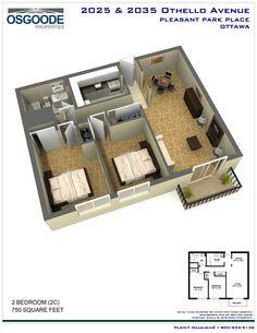 3D Floor plan 2 bedrooms (2C)