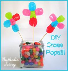 DIY Jolly Rancher Cross Pops for Easter! Fun, colorful, and tasty! :-)