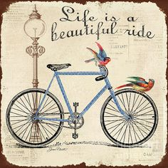 Bring the classic look of the Vintage Bike I Canvas Wall Art - x in. The vintage bicycle illustration with birds features bright. My Canvas, Canvas Wall Art, Vintage Pictures, Vintage Images, Vintage Cards, Vintage Postcards, Collages D'images, Bicycle Illustration, Illustrations Vintage