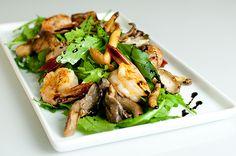 Giada's Pepperoncini and Garlic Grilled Shrimp and Arugula, Mushroom, and Parmesan Salad with Lemon