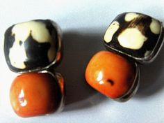 """REBECCA COLLINS GORGEOUS!! SALMON - PEACH CORAL BONE S/S 1.5"""" EARRINGS Signed!! #RebeccaCollins"""