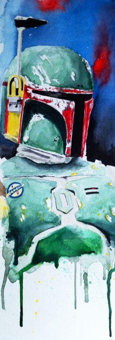 Boba Fett Watercolor study of Boba Fett    http://www.davidkraig.com/24452/581419/fine-art/boba-fett