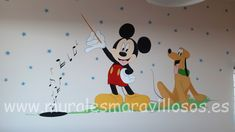 Mural con Pluto y Mickey y notas de música pintado en habitación infantil Minnie, Madrid, Disney Characters, Fictional Characters, Daisy, Ideas, Art, Child Room, Kids Rooms