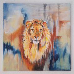 "Acrylbild auf Leinwand - ""Löwe"", 40x40x2 cm"