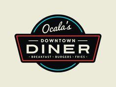 Downtown Diner Logo by Carl Craig on Dribbble Diner Logo, Retro Diner, Restaurant Logo Design, Restaurant Concept, Web Design, Retro Design, Graphic Design, Bar Logo, American Diner