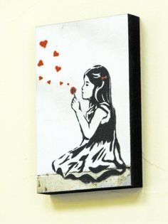"6"" X 4"" (postcard size) Block Mounted Print Banksy GIRL BLOWING HEARTS Graffiti: Amazon.co.uk: Kitchen & Home"
