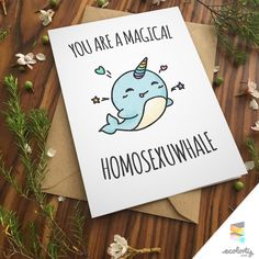 LGBT LOVE PUN greeting card gay lesbian couple same sex marriage love anniversary funny pride girlfriends unicorn whale boyfriends rainbow birthday lesbians by ecolorty on Etsy