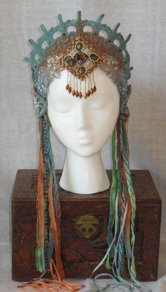 MIMSYCROWNS on Etsy: Art Nouveau Mythical Mermaid Fantasy Belly Dance Renaissance Fairy Princess Queen Crown Headpiece headdress Beaded fringe crystals Art Nouveau, Tribal Fusion, Fantasy Costumes, Dance Costumes, Theatre Costumes, Larp, Renaissance Fairy, Ring Armband, Ideas Joyería
