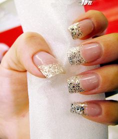 Silver sequins French nail