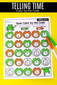 Telling Time Worksheets- Color by the Code. Teaching time to the half hour in First Grade is be fun and engaging with these hands-on math centers and practice sheets for Grade! First Grade Curriculum, Teaching First Grade, Teaching Time, First Grade Math, Student Teaching, Clock Worksheets, Data Folders, Time To The Hour, Core Learning