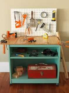 Encourage creativity in little DIYers with a custom worktable and (toy) tool storage.