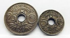 France 1917 - 25 Centimes & 1917 - 5 Centimes Coins  (Two Coin Lot)