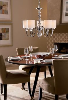 A contemporary chrome Quoizel Downtown chandelier is a perfect fit for this dining area. Transitional Chandeliers, Polished Chrome, Chandelier Ceiling Lights, Ceiling Lights, Chandelier Lighting, Home Decor, Chandelier Fixtures, Chrome Chandeliers, Tiffany Style Lighting