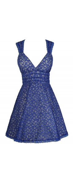 Doll That Jazz Sequin Lace Dress in Blue  www.lilyboutique.com