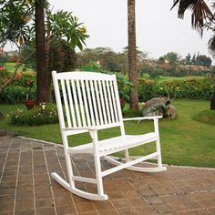 Mainstays Outdoor Double Rocking Chair, White, Seats 2 $99 WalMart for paver area with outdoor fire pit