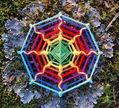 Rainbow Web, double-sided yarn mandala ~ Ojo de Dios, 5.7 inches (14 cm), 8-sided, hanging mobile