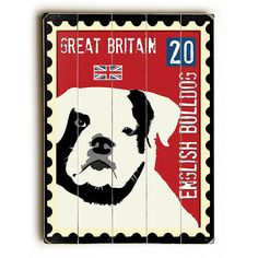 English Bulldog Postage Stamp by Artist Ginger Oliphant Wood Sign