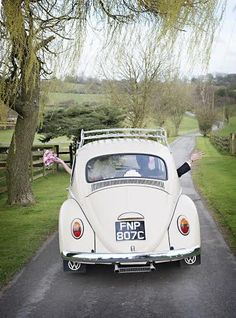 VW Beetle at Alcott Weddings, Worcestershire, West Midlands, Wedding venue, Wedding transport