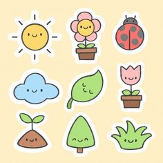 Cute spring sticker hand drawn cartoon c. Kawaii Stickers, Cartoon Stickers, Tumblr Stickers, Mini Drawings, Kawaii Drawings, Easy Drawings, Kawaii Doodles, Cute Doodles, Printable Stickers