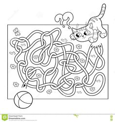 Education Maze Or Labyrinth Game For Preschool Children. Coloring Page Outline Of Cat With Ball Stock Vector - Illustration of labyrinth, childish: 73927181 Coloring Games For Kids, Sports Coloring Pages, Disney Princess Coloring Pages, Disney Princess Colors, Christmas Party Activities, Labyrinth Game, Printable Christmas Coloring Pages, Enigma, Free Cartoons