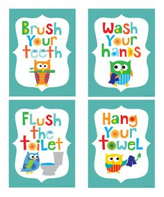Look at this #zulilyfind! Teal Owl Bathroom Print Set by Ellen Crimi-Trent #zulilyfinds