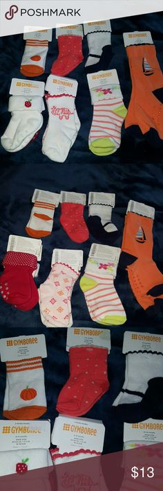 9 Gymboree baby socks! 1. 0-3 months shoe size 01 2. 3-6 months shoe size 02 2, 2packs. 6-12 months shoe size 03-04 has grippers 1. 12-24 months shoe size 5-6 has grippers 1. 4T-5T shoe size 10-11 has grippers   These are all brand new!!! Original price on these are 3.95 to 5.95. Retails for 35.65! You can use for your own children or use for gifts! Ive even use for dogs paws during the cold months! Gymboree Other