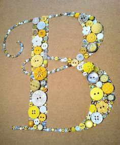 Button Art Custom Monogram Great For Weddings  and baby showers! Great gift!