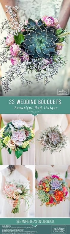 Succulent wedding bouquets! I love these, they are so unique. These simple bouquets with red, coral, blue, purple and blush colors are just perfect for any spring, summer or fall wedding. #SmallWeddingIdeas