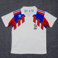a8f303cc29c Vtg adidas france 1990 away football shirt jersey maillot trikot  8