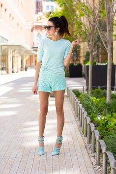 AQUA COLORED T-SHIRT, SHORTS, HEELS AND EVERYTHING ELSE!