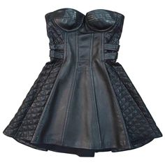 Black Leather Corset, Leather Mini Dress, Black Leather Dresses, Black Dinner Dress, Balmain Dress, Black Dress Outfits, Military Fashion, Leather Fashion, Fashion Outfits