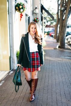 Plaid + Scallops. I don't think I could dream up a more perfect Christmasy combination if I tried! | Christmas Outfit Ideas | Holiday Fashion Tips | Styling for the Holidays | Christmas Fashion Tips | Holiday Outfit Ideas || A Lonestar State of Southern