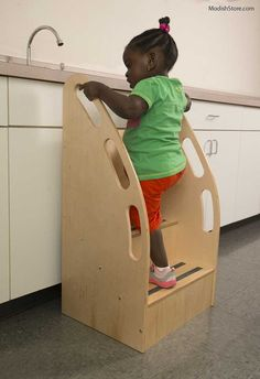 The Whitney Brothers Step Up-Tall Stairs have tall sides and convenient hand-holds making it easy for the child to grab – providing for an extra-safe and confident climb up to counter height. School Furniture, Kids Furniture, Bedroom Furniture, Furniture Design, Learning Tower, Kids Stool, Reclaimed Furniture, Repurposed Items, Kids Decor