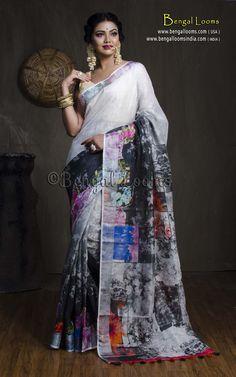 Digital Printed Linen Saree in Off White and Black लिबास Photograph लिबास PHOTOGRAPH | IN.PINTEREST.COM WHATSAPP EDUCRATSWEB