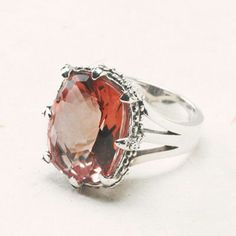 Aubree Ring by Sara Blaine - Stunning Mosiac cut, pink tourmaline quartz set in exquisite sterling silver prong setting