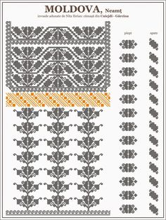 Folk Embroidery Patterns Ie Neamt - Semne cusute FB Simple Cross Stitch, Cross Stitch Borders, Cross Stitching, Cross Stitch Patterns, Folk Embroidery, Learn Embroidery, Embroidery Patterns, Floral Embroidery, Palestinian Embroidery