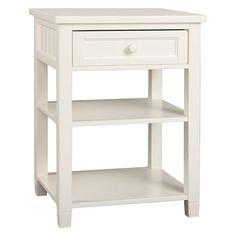 Beadboard Bedside Table, White