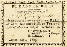 ball invitation 1809. After all, EVERY Lady needs an invitation!