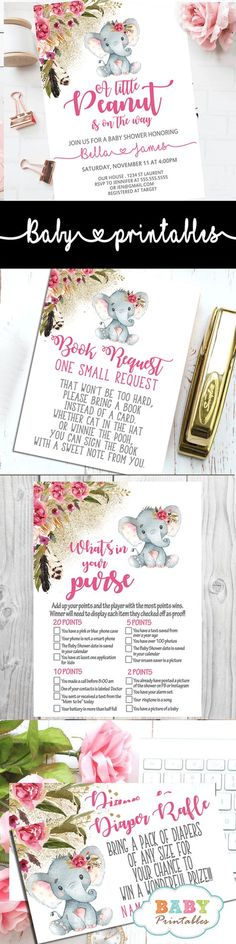 A little peanut is the on the way! Celebrate the event with these elegant elephant baby shower invitations girl. The design features an adorable baby girl elephant wearing a floral pink bow against a white backdrop decorated with a beautiful watercolor floral arrangement in pink accents and boho feathers against a fine sprinkle of faux gold glitter. #babyshower #babyshowerinvitations #babyshowerideas #babyshowerpartyideas