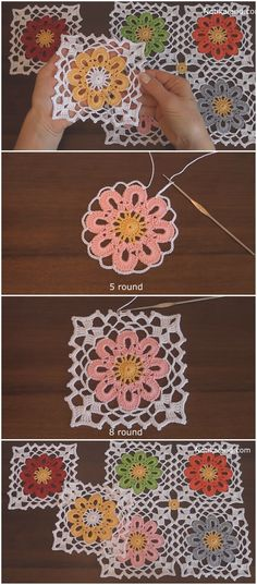 This easy granny square crochet motif is a variation of a classic granny square. It uses the same first two rounds as a basic square, but the flower design element in the middle gives it such a special look. Granny Square Crochet Pattern, Crochet Blocks, Crochet Squares, Crochet Granny, Crochet Motif, Crochet Designs, Easy Crochet, Crochet Stitches, Crochet Basics