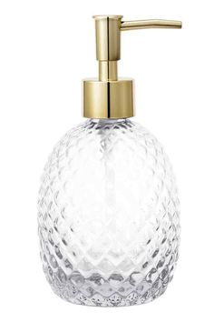 Glass soap dispenser: Soap dispenser in textured glass with a plastic pump at the top. Size approx. 8x12 cm.