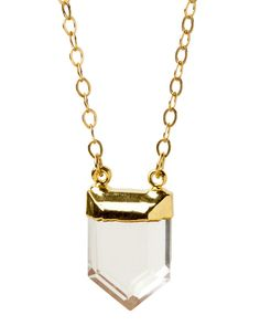 Gia Necklace - love the clear Quartz Pendant capped in 24k gold