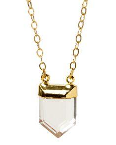 quartz point pendant necklace <3