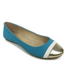 Look at this Bamboo Turquoise Cap-Toe Clore Flat on #zulily today!