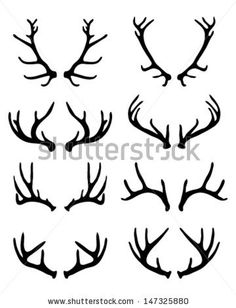 Silhouettes of deer antlers 2-vector by KatarinaF, via ShutterStock