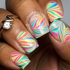 Amazing watermarble nails by @nailsofjessiek using Pure Color 7 watermarble tool from whatsupnails.com (link in bio). Sh...