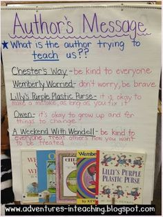Author's message with Kevin Henkes (author study) theme anchor chart Reading Workshop, Reading Skills, Teaching Reading, Reading Strategies, Guided Reading, Teaching Ideas, Close Reading, Reading Response, Kindergarten Reading