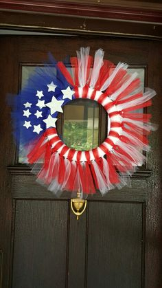 4th of July! Red, white and blue tulle wreath