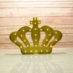 BLOWOUT Marquee Light Gold Crown Shape LED Metal Sign w/ Glitter (Battery Operated) - 14.00
